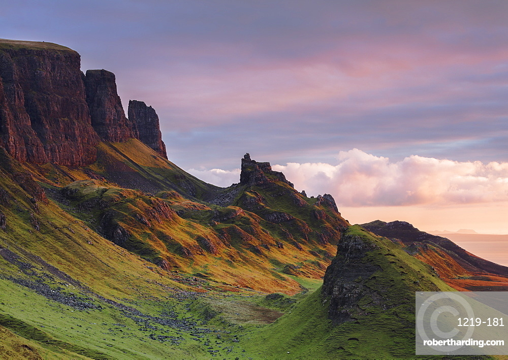 Early morning dawn light hits the Quiraing in the Trotternish peninsula on the Isle of Skye, Inner Hebrides, Scotland, United Kingdom, Europe