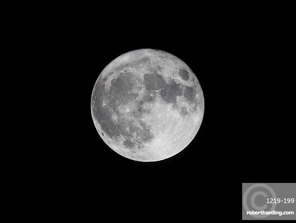Supermoon (perigree full moon) bigger and brighter in the winter evening sky, United Kingdom, Europe