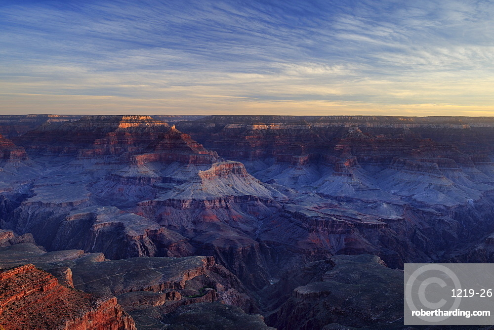 Isis Temple picks up the first light of the day as the sun rises on the Grand Canyon National Park, UNESCO World Heritage Site, Arizona, United States of America, North America