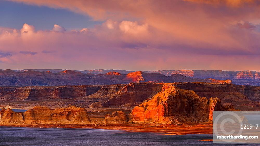 Sunset illuminates the rugged mountainous outcrops of Grand Staircase-Escalante National Monument, Arizona, United States of America, North America
