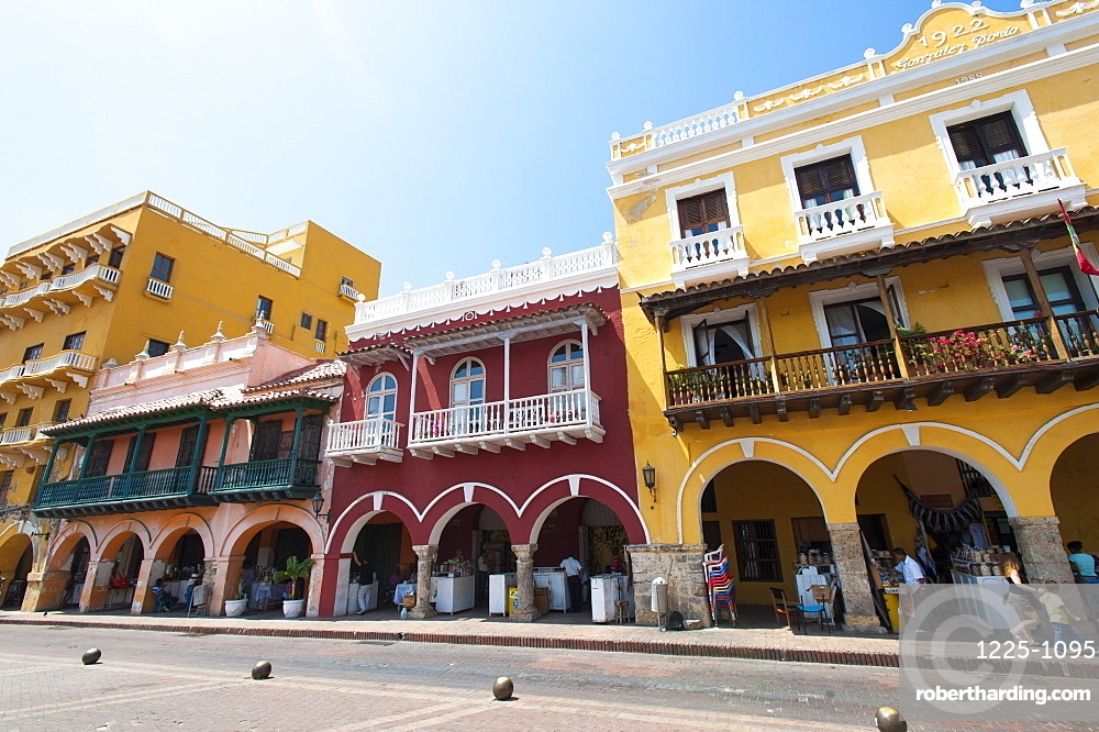 Traditional houses in the colorful old town of Cartagena, Colombia, South America