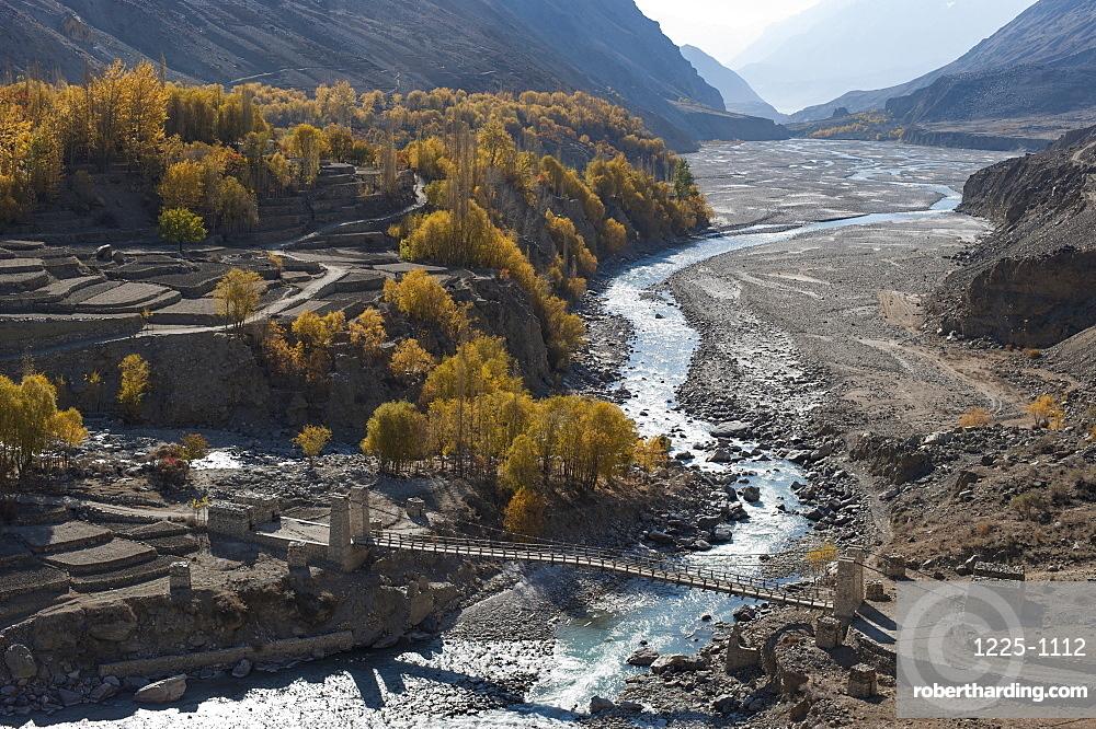Hushe village beside a meandering river, Gilgit-Baltistan, northern Pakistan, Asia
