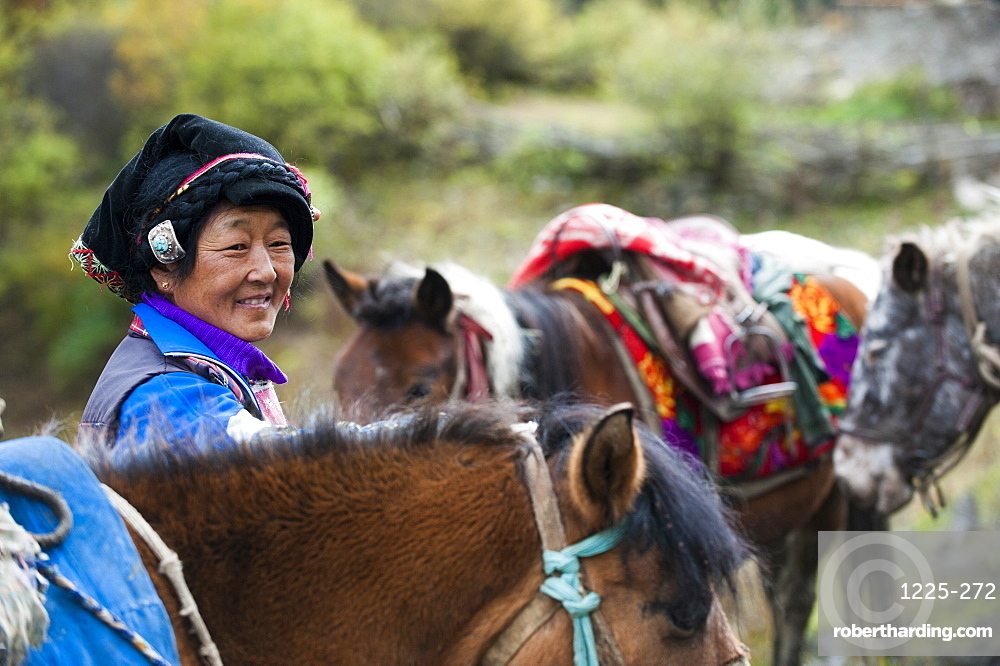 A Tibetan women from Mount Siguniang in Sichuan Province, China, Asia