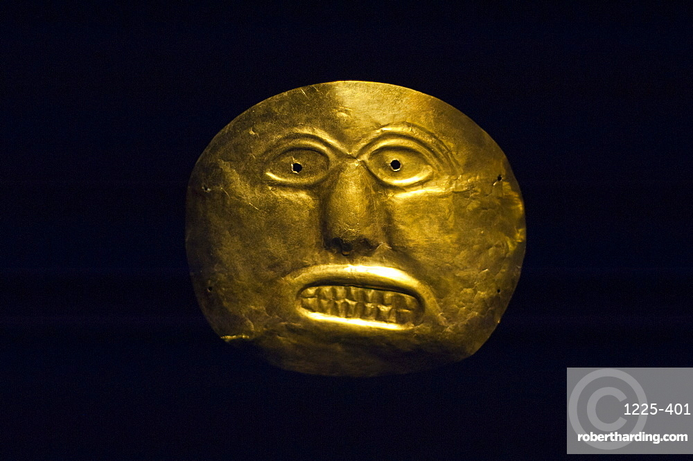 An ancient gold mask at the Museo Del Oro, Bogota, Colombia, South America