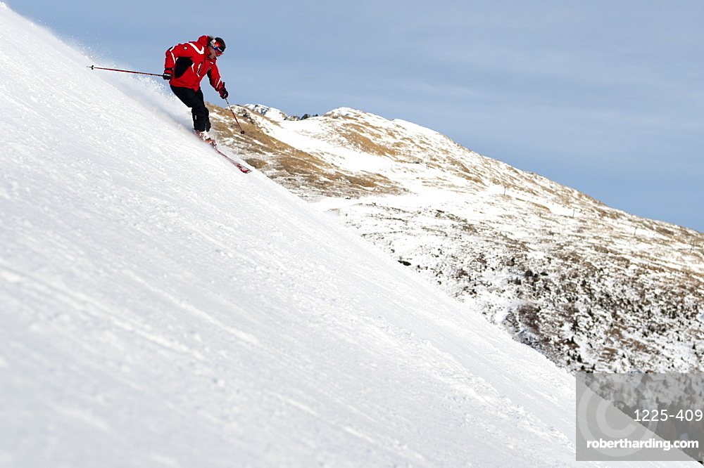 Skiing in the Dolomite mountains near Falcade, Veneto, Italy, Europe