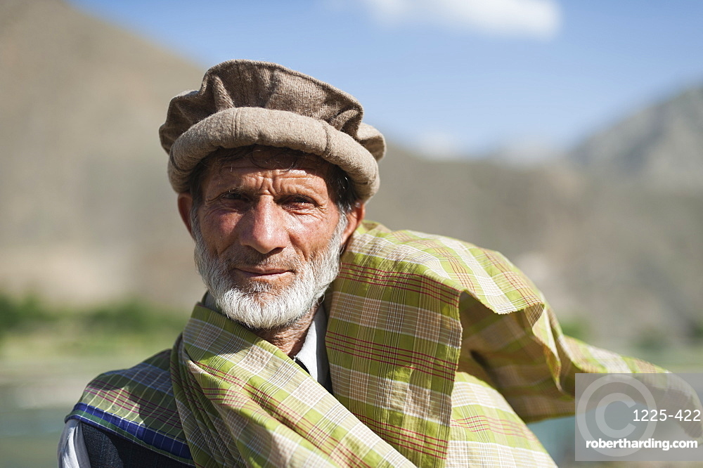 A man from the Panjshir Valley wearing a traditional Afghan hat, Afghanistan, Asia