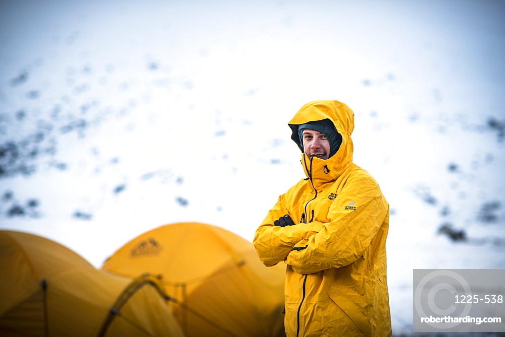 A mountaineer at Ama Dablam Base Camp, Khumbu Region, Himalayas, Nepal, Asia