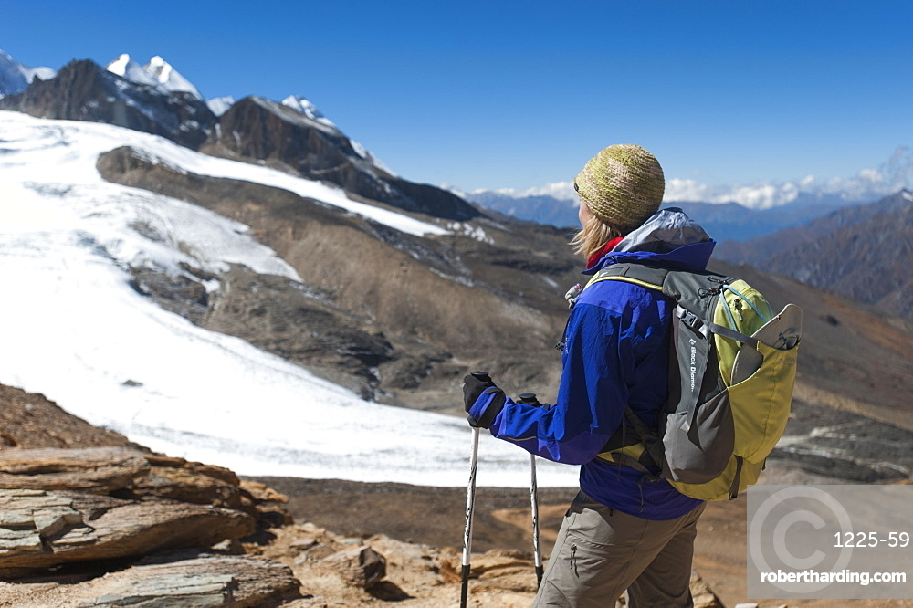 Admiring the view from the top of the Kagmara La, the highest point in the Kagmara Valley at 5115m in Dolpa, Himalayas, Nepal, Asia