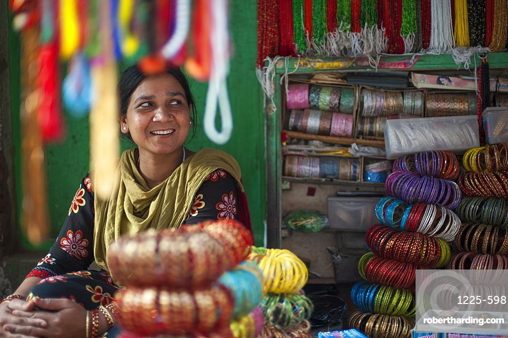 A bangle stall in Patan, an historical part of Kathmandu, Nepal, Asia