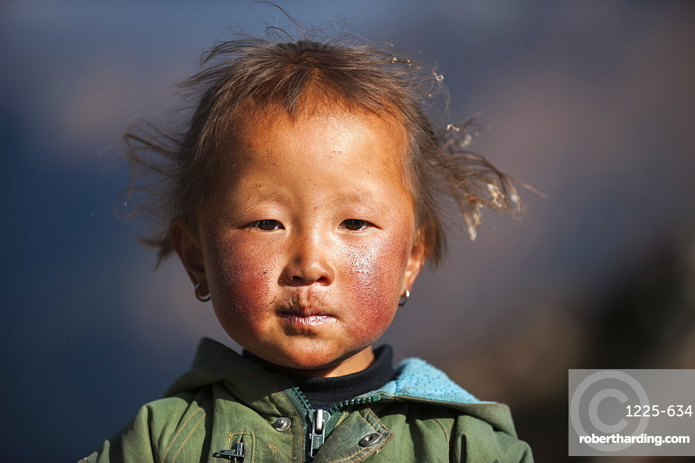 A little girl with a weathered face from the village of Khumjung in the Everest region, Nepal, Asia
