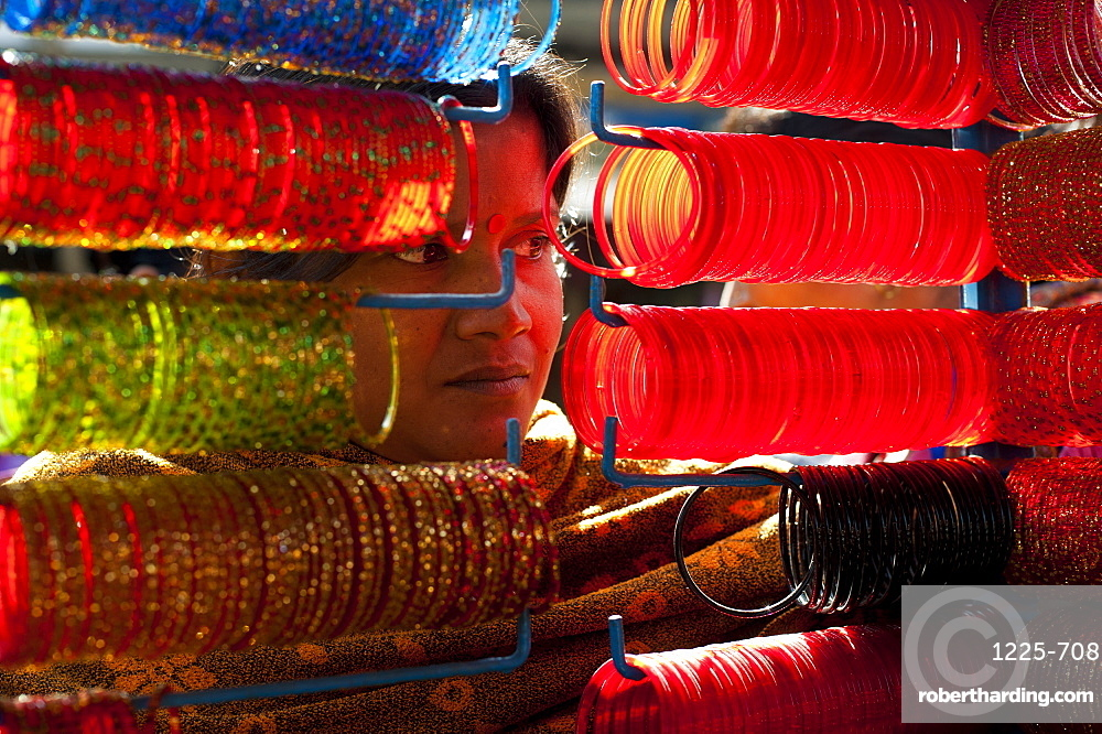 A street stall selling colourful glass bangles, Nepal, Asia