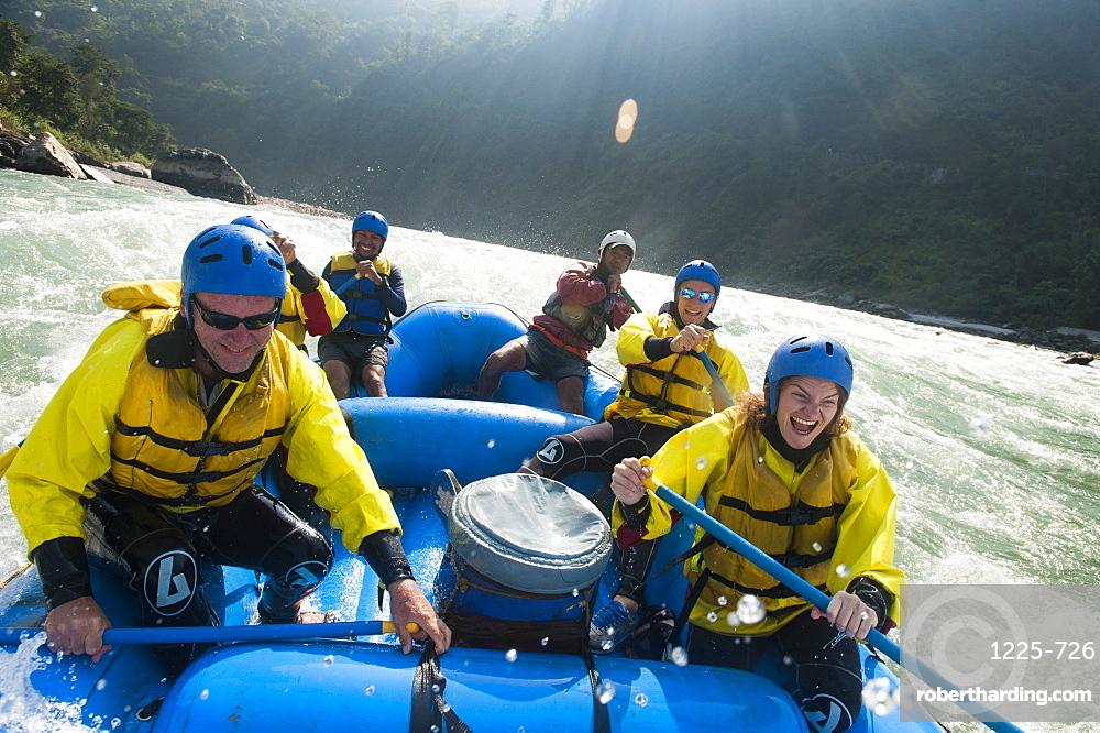 Rafting trip on the Trisuli River, Nepal, Asia