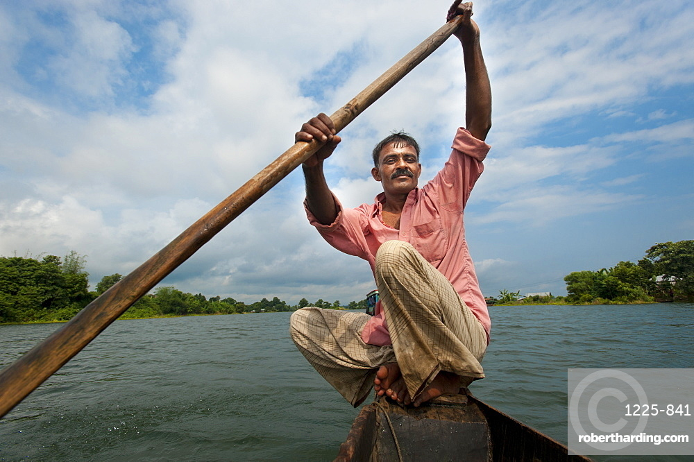 A fisherman on Kaptai Lake, Chittagong Hill Tracts, Bangladesh, Asia