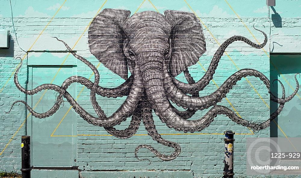 Octophant mural by Alexis Diaz, near Brick Lane, Shoreditch, London, England, United Kingdom, Europe