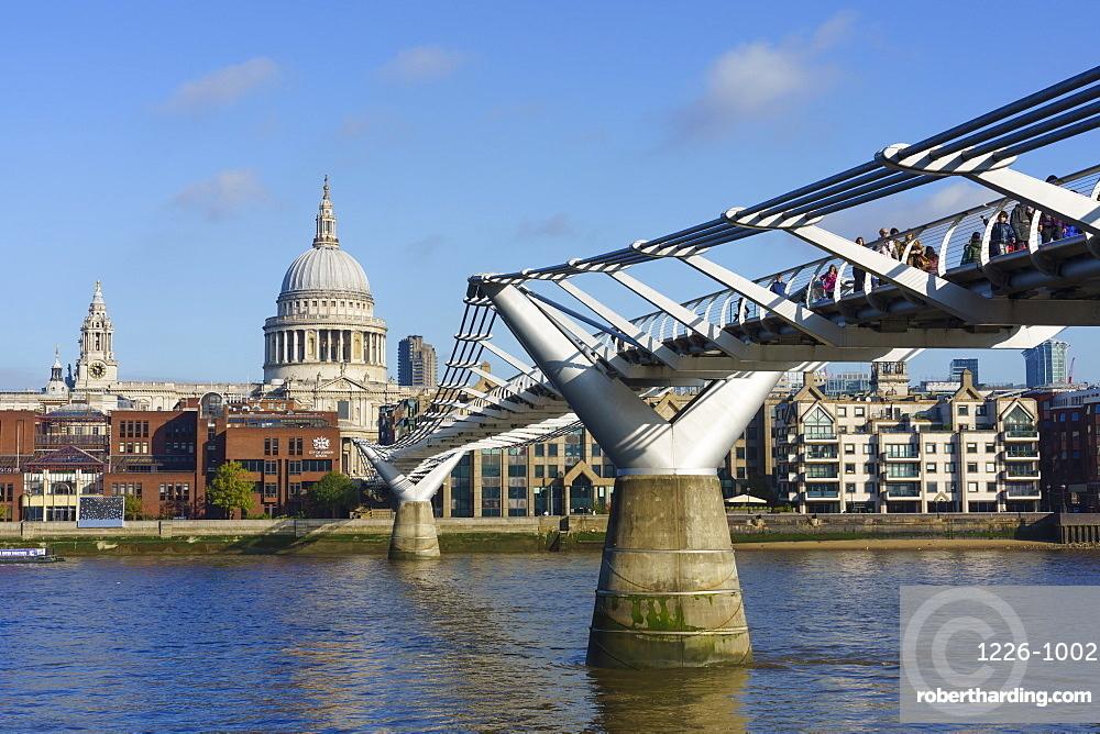 Millennium Bridge with St. Paul's Cathedral, London, England, United Kingdom, Europe