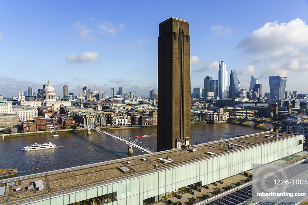 City of London skyline with Tate Modern art gallery in the foreground, London, England