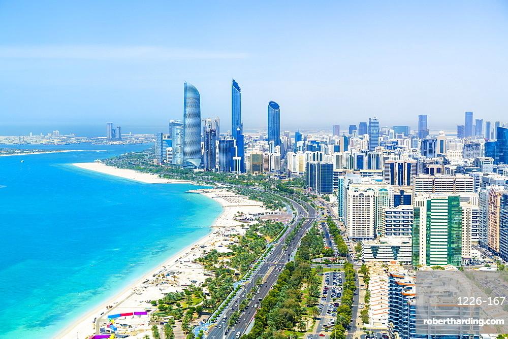 Skyline and Corniche, Al Markaziyah district, Abu Dhabi, United Arab Emirates, Middle East