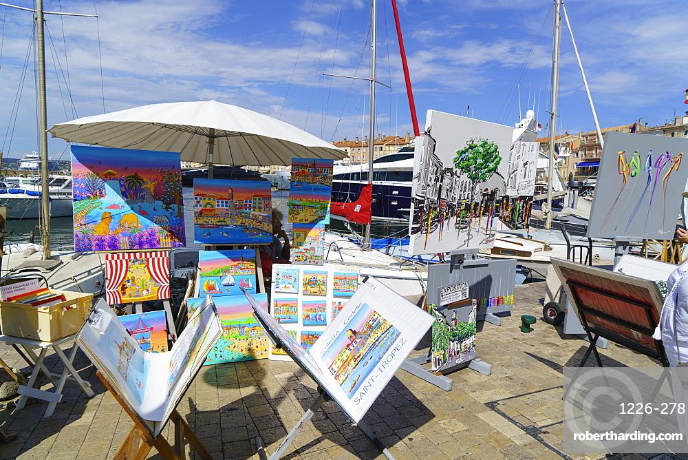 Art for sale by the harbour, Saint Tropez, Var, Cote d'Azur, Provence, France, Mediterranean, Europe