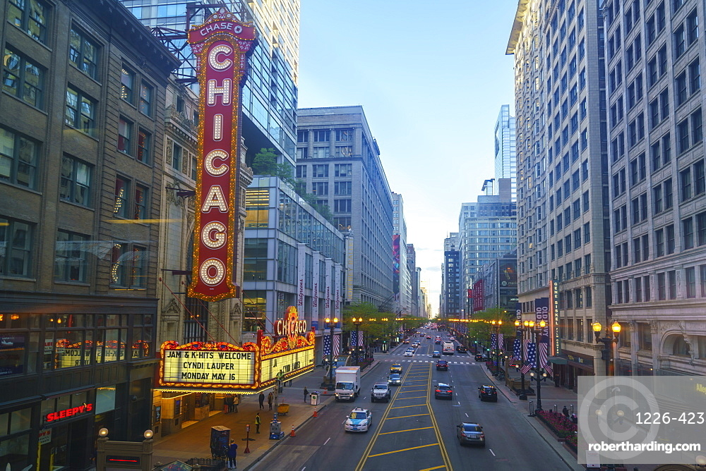 The Chicago Theatre on North State Street, Chicago, Illinois, United States of America, North America