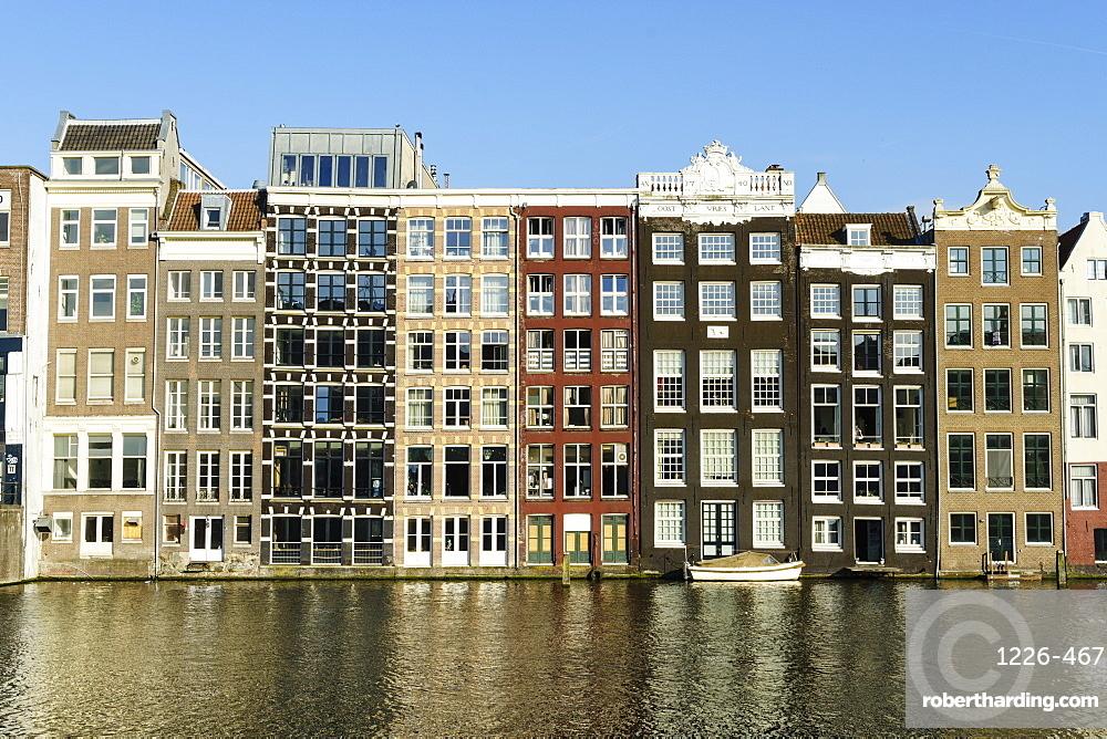 Old gabled buildings near Damrak, Amsterdam, Netherlands, Europe
