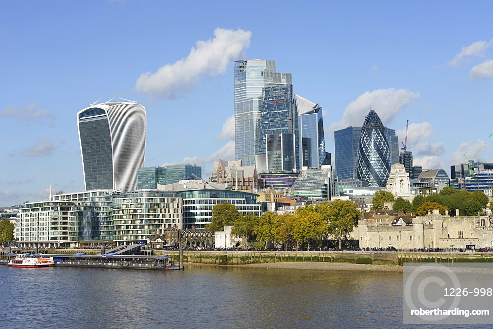 City of London skyscrapers viewed across the River Thames, London, England