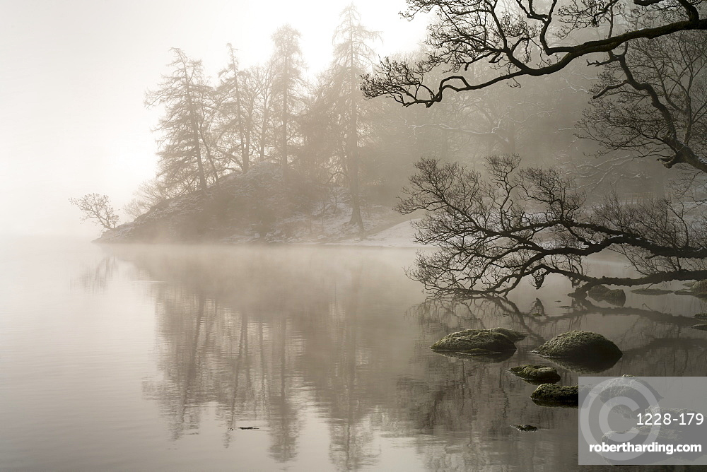 Mid-winter mist over Ullswater, Lake District National Park, UNESCO World Heritage Site, Cumbria, England, United Kingdom, Europe