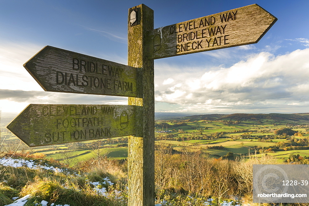 Sneck Yate signpost at Whitestone Cliffe, on The Cleveland Way long distance footpath, North Yorkshire, England, United Kingdom, Europe