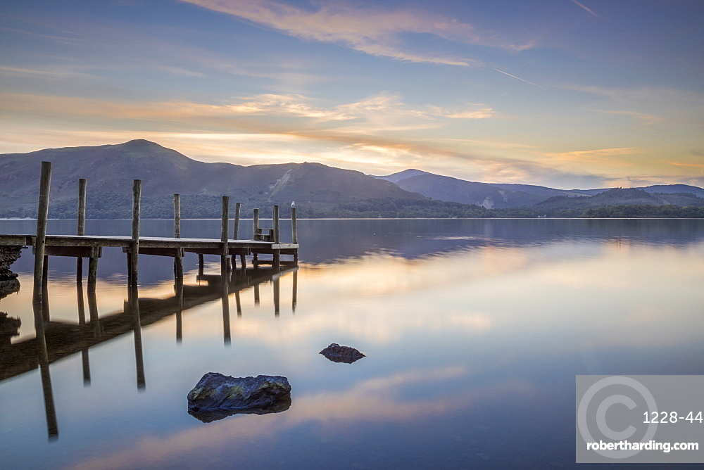 Watendlath Jetty, Derwent Water, Borrowdale, Lake District National Park, Cumbria, England, United Kingdom, Europe