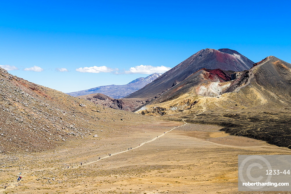 Hikers are dwarfed by the volcanic Mount Ngauruhoe on the Tongariro Crossing trail, Tongariro National Park, UNESCO World Heritage Site, North Island, New Zealand, Pacific