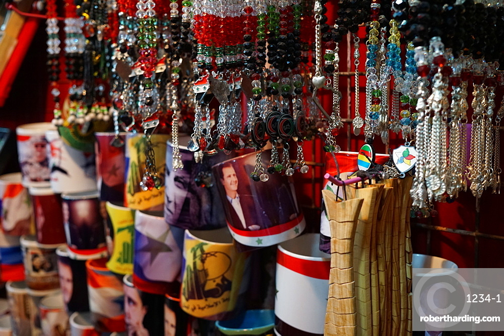 Souvenirs available at the Souk Hamidiyeh in the old city of Damascus, Syria, Middle East