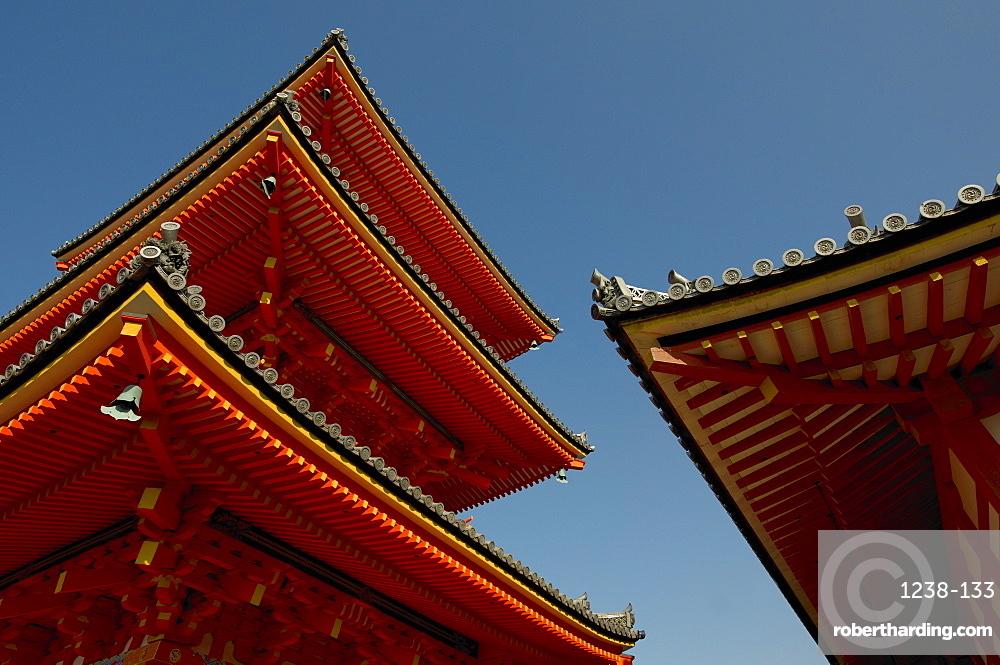 Kiyomizudera temple's red pagoda, Kyoto, Japan, Asia