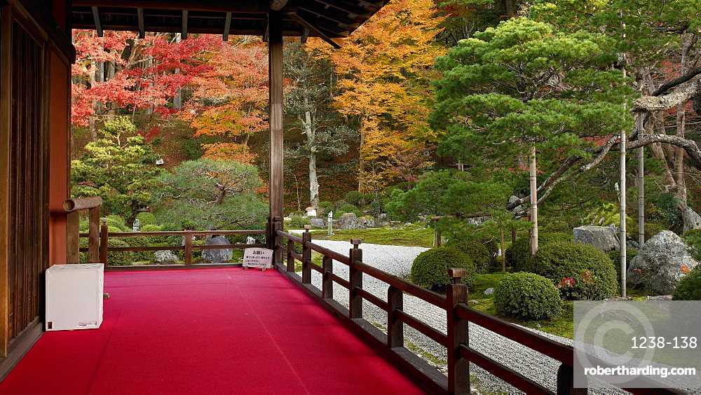 Manshu-in Temple Zen garden in autumn, Kyoto, Japan, Asia