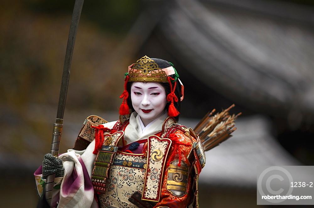 Female warrior during the Jidai festival, Kyoto, Japan, Asia