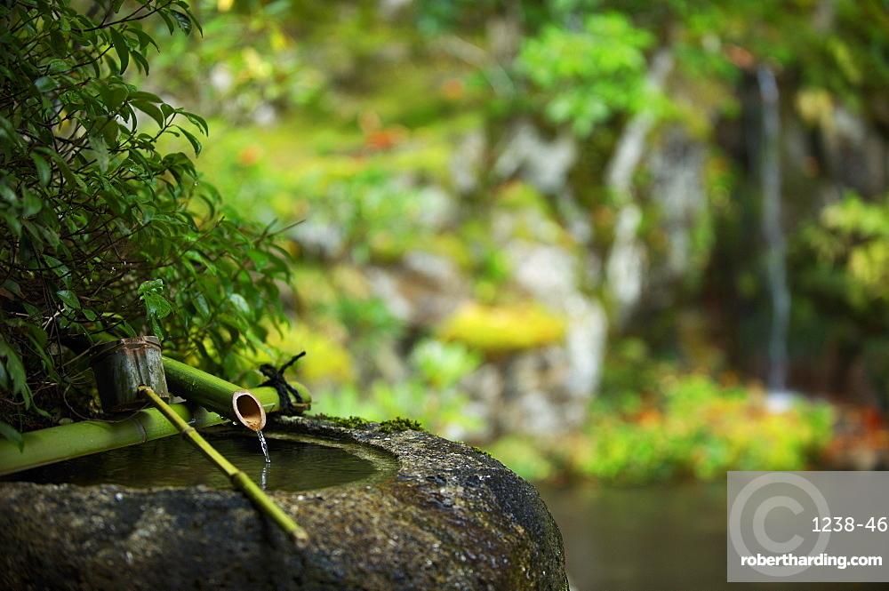 Traditional tsukubai water basin, Jikko-in Temple, Kyoto, Japan, Asia