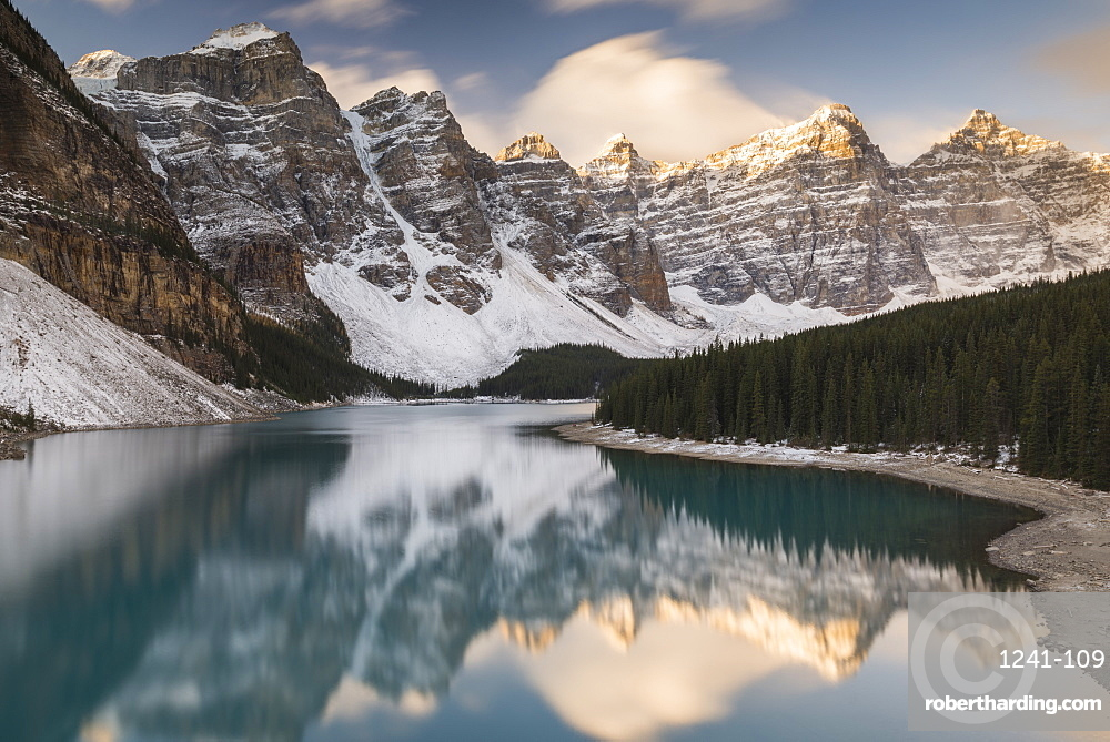 Mountains reflected in Moraine Lake, Banff National Park, UNESCO World Heritage Site, Alberta, The Rockies, Canada, North America