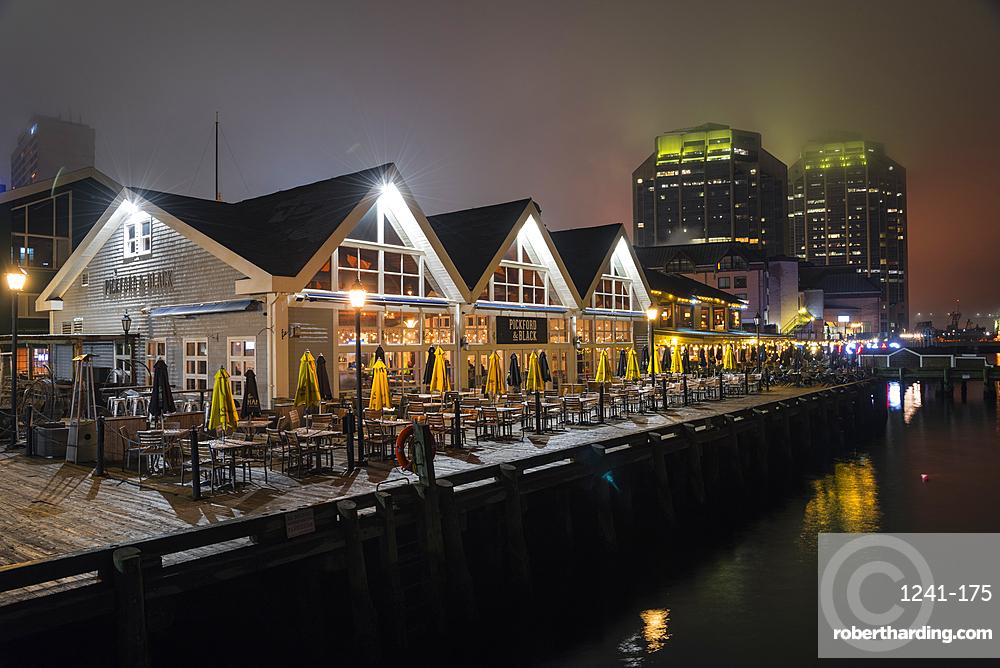 Halifax historic waterfront at night, Halifax, Nova Scotia, Canada, North America