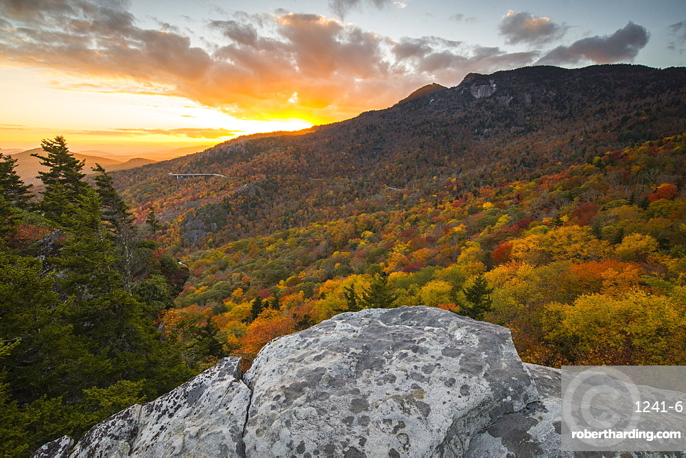 Sunset and autumn color at Grandfather Mountain, located on the Blue Ridge Parkway, North Carolina, United States of America, North America