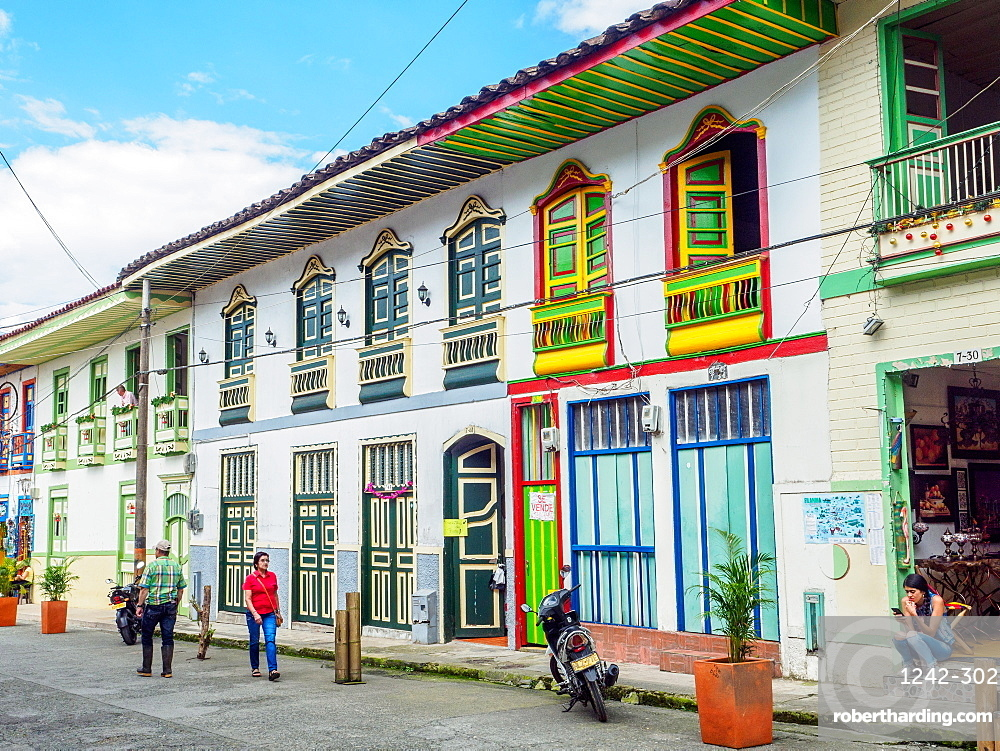 Colorful buildings line the streets, Filandia, Coffee Region, Colombia, South America