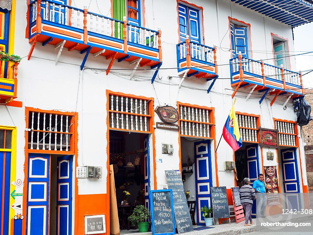 Colorful restaurant, Filandia, Coffee Region, Colombia, South America