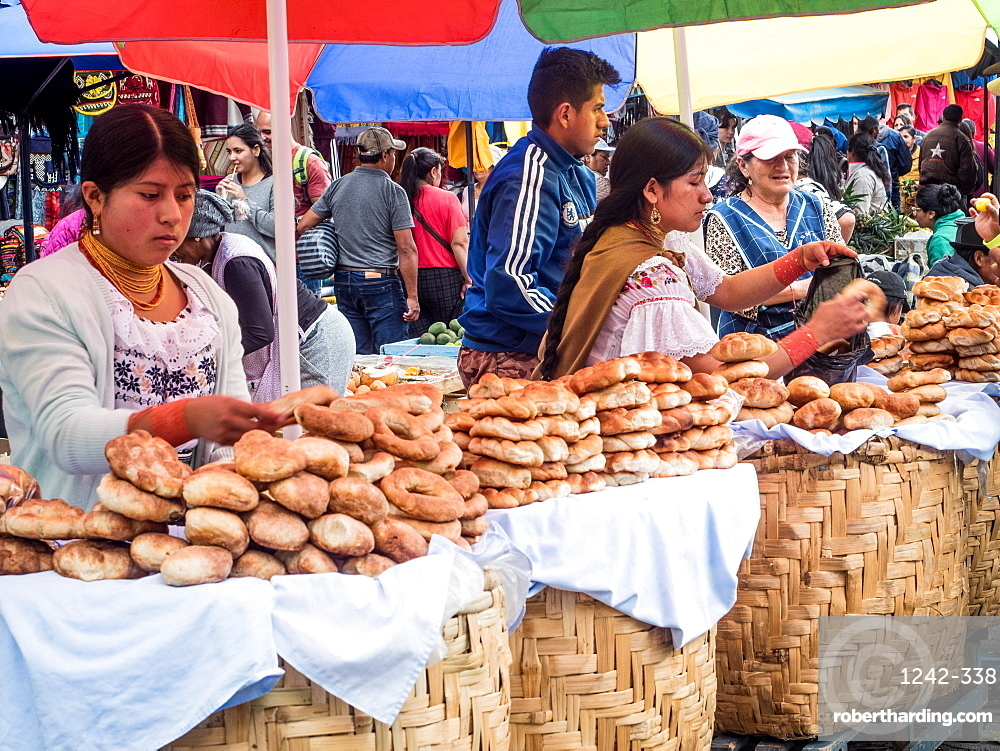 Bread for sale, market, Plaza de los Ponchos, Otavalo, Ecuador, South America