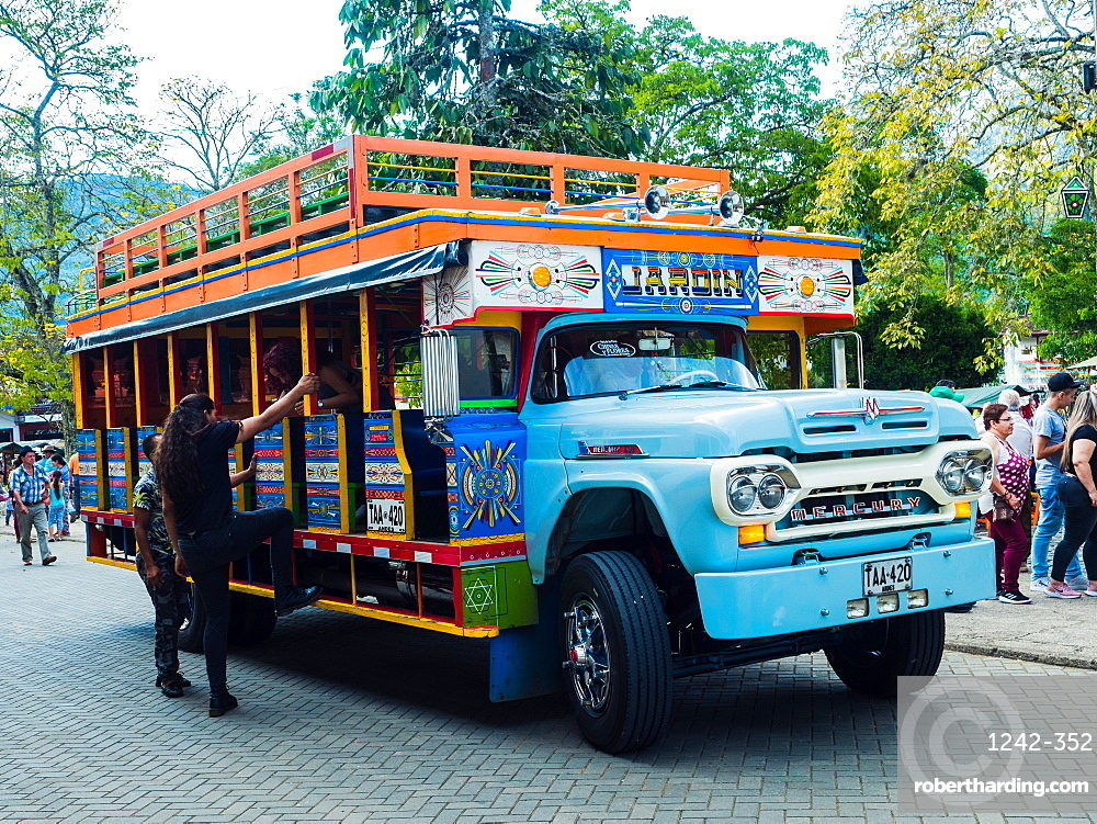 Brightly painted chivas, common transport in rural Antioquia, Jardin, Antioquia, Colombia, South America