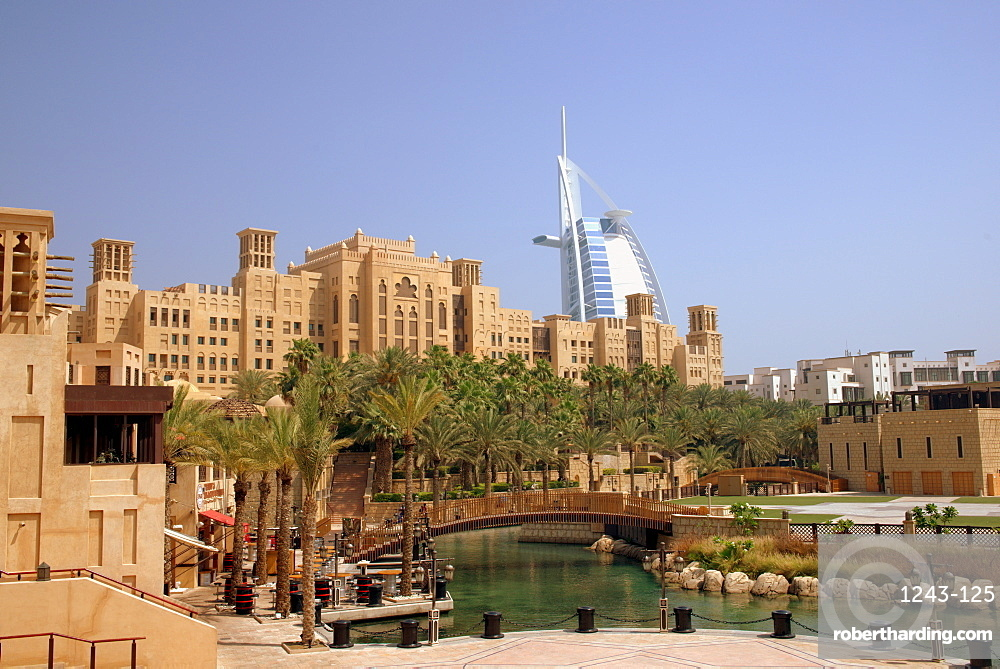 The Madinat Jumeirah Hotel canal, Dubai, United Arab Emirates, Middle East
