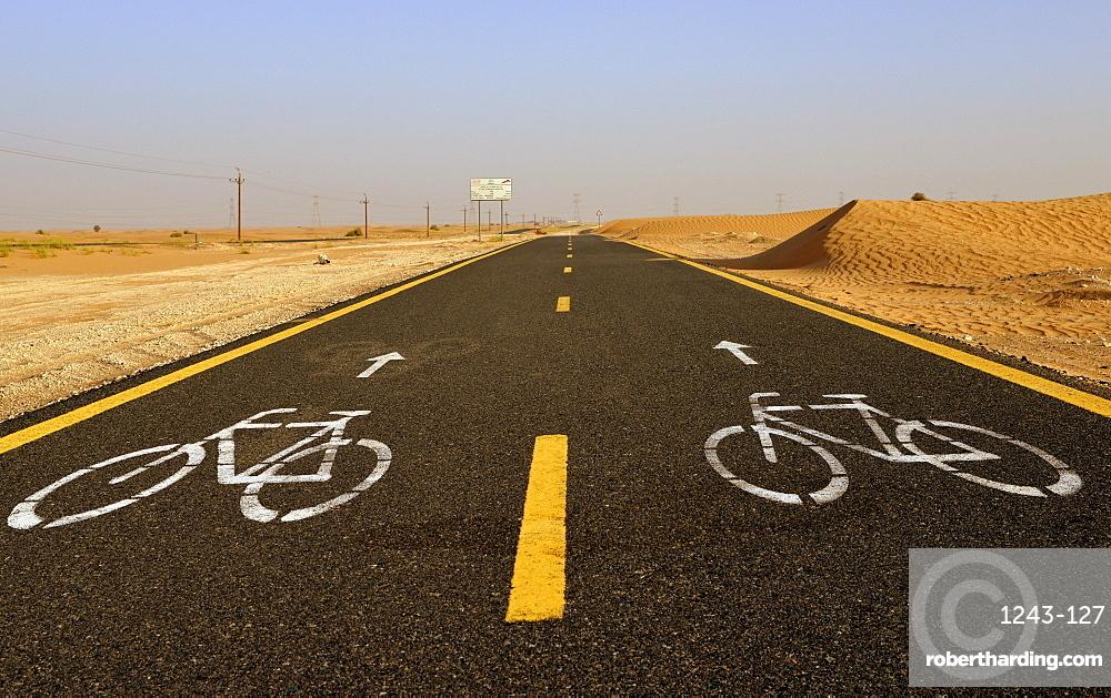 Al Qudra cycling path near Dubai, United Arab Emirates, Middle East