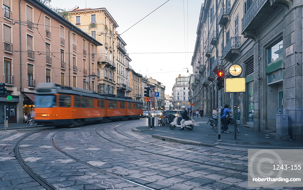 Trams in Milan, Lombardy, Italy, Europe