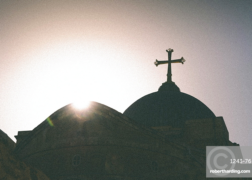 Silhouette of a church and cross, Jerusalem, Israel, Middle East