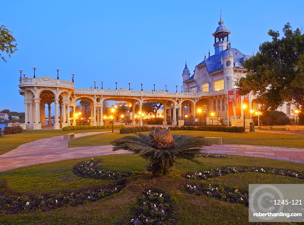 Twilight view of the Municipal Museum of Fine Art, Tigre, Buenos Aires Province, Argentina, South America