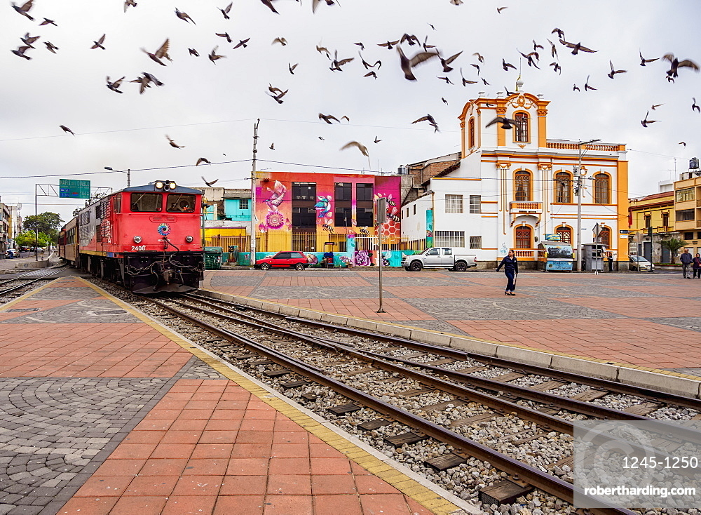 Train arriving at Railway Station in Riobamba, Chimborazo Province, Ecuador, South America