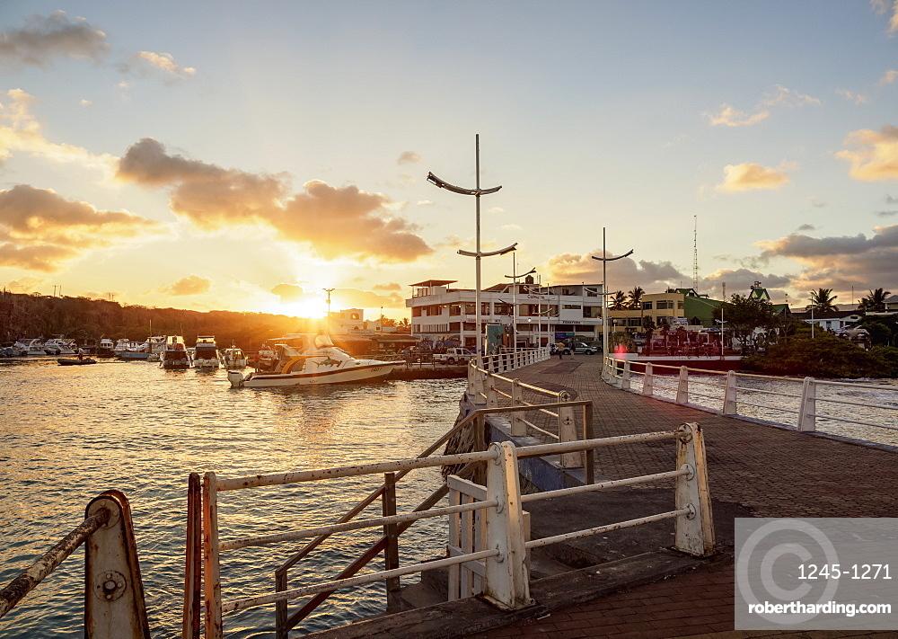 Port in Puerto Ayora at sunset, Santa Cruz (Indefatigable) Island, Galapagos, UNESCO World Heritage Site, Ecuador, South America