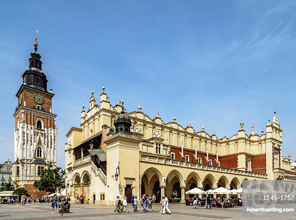 Cloth Hall and Town Hall Tower, Market Square, Cracow (Krakow), UNESCO World Heritage Site, Lesser Poland Voivodeship, Poland, Europe