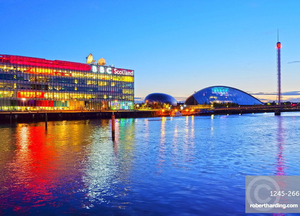 Twilight view of the BBC Scotland and the Glasgow Science Centre, Glasgow, Scotland, United Kingdom, Europe